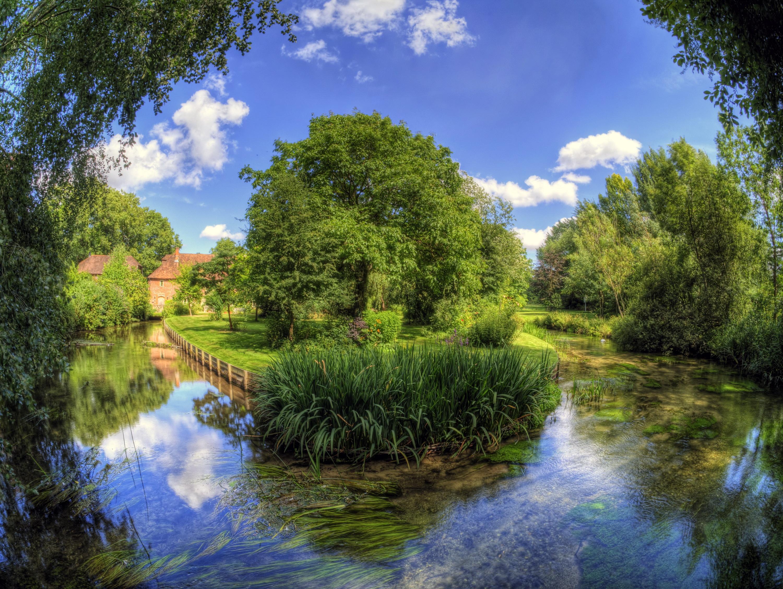 природа HDR река деревья  № 257368  скачать