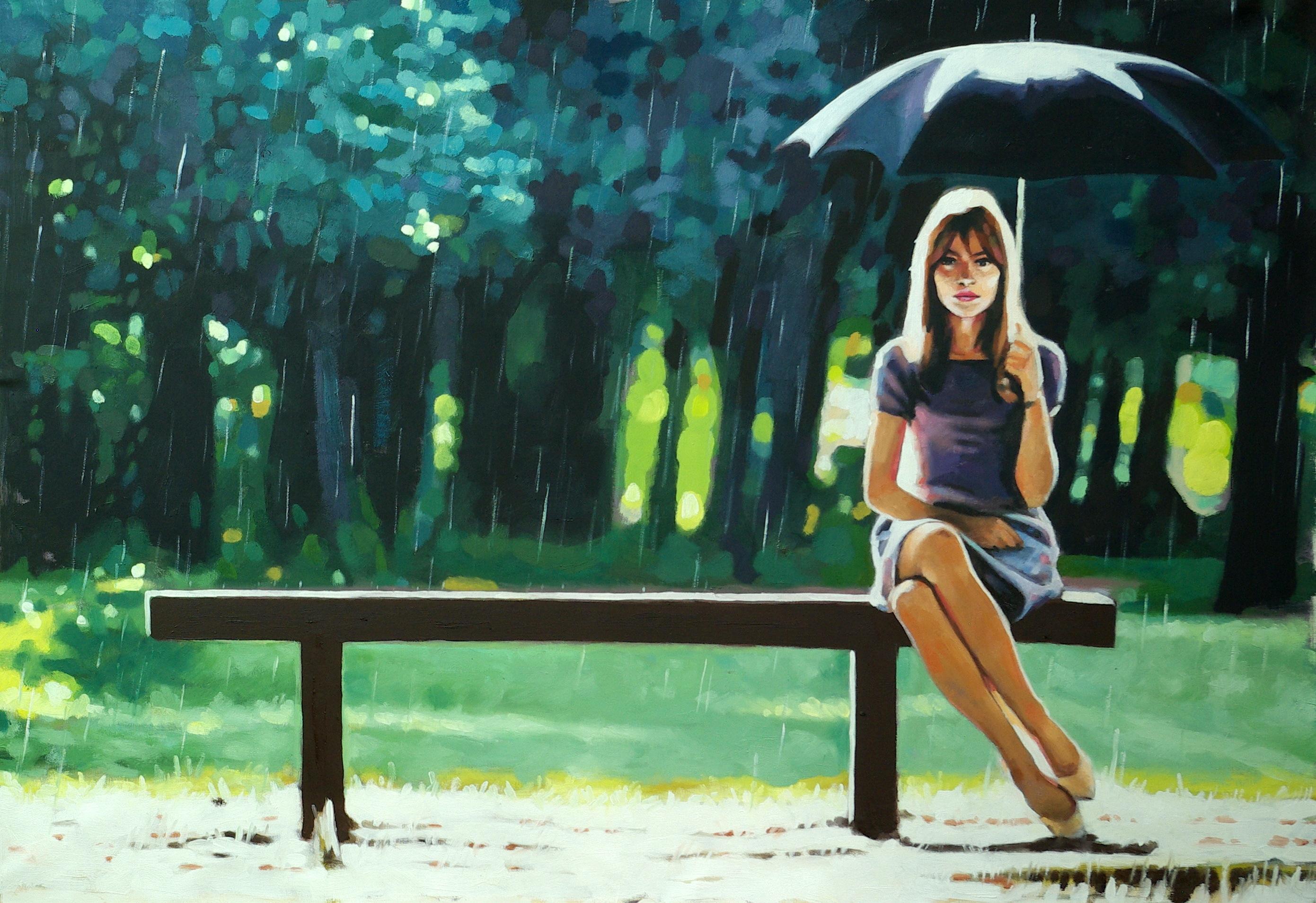 девушка зонт дождь природа  № 3582431  скачать