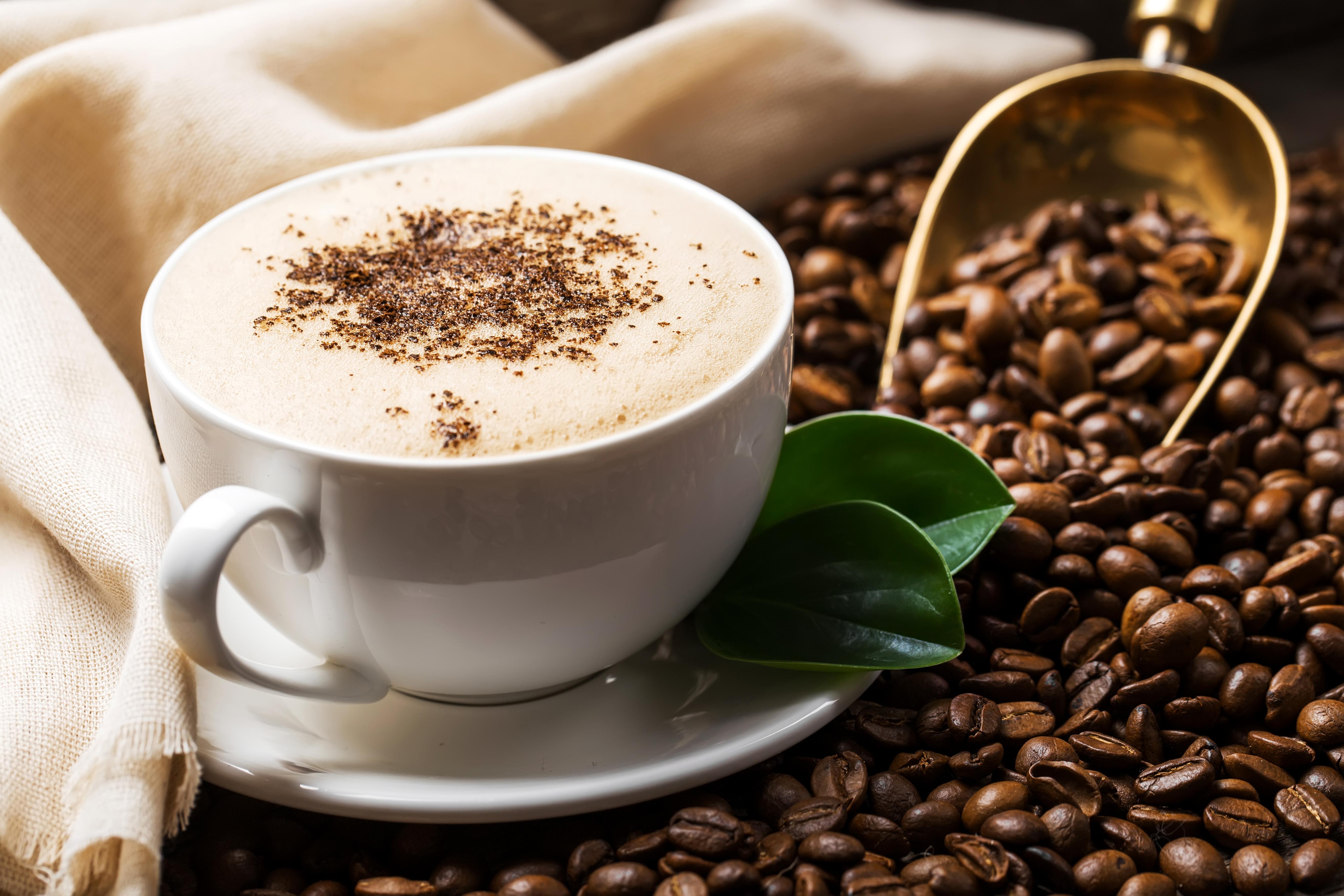 Чашка кофе с зернами  № 2153079 бесплатно