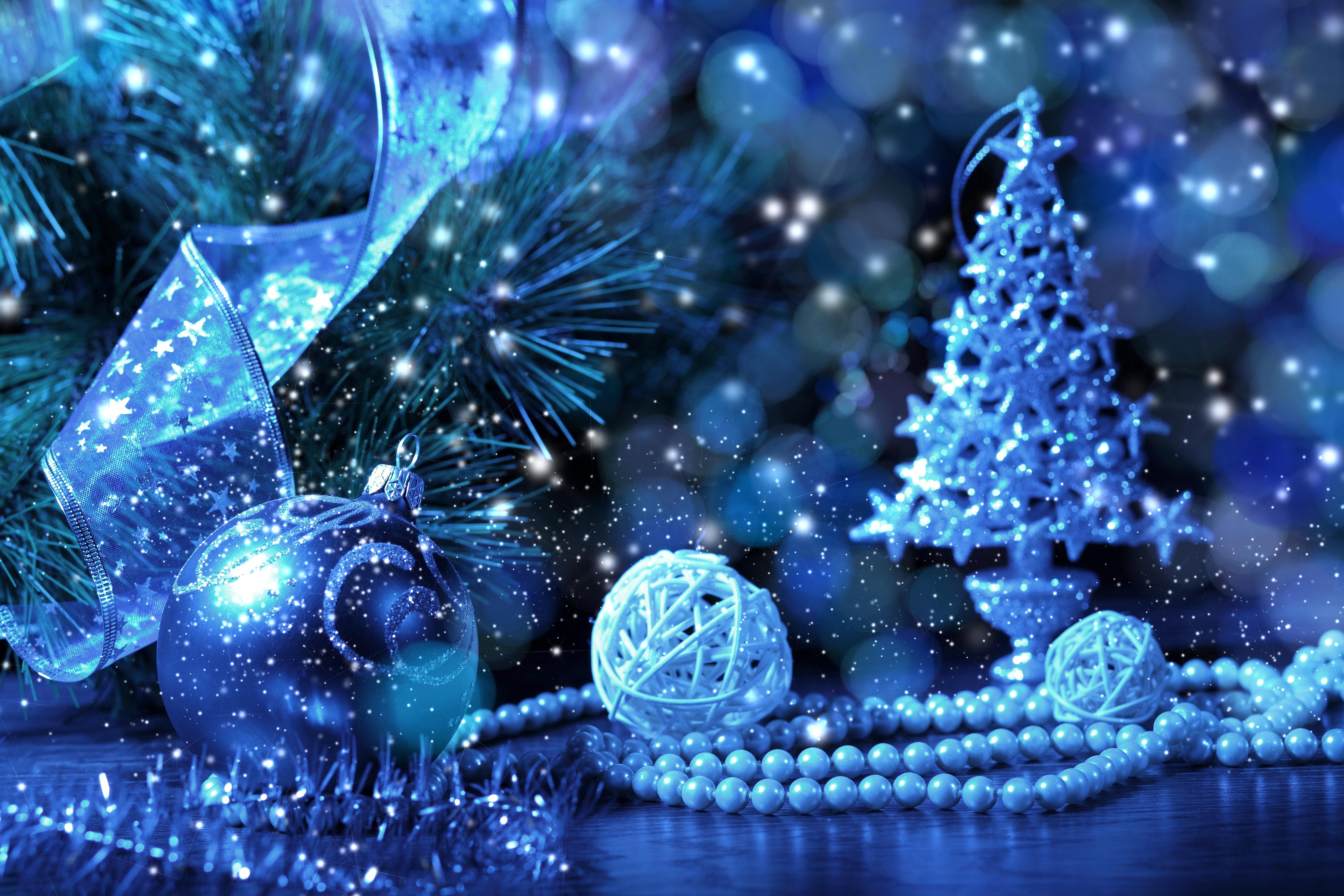 Синяя новогодняя открытка