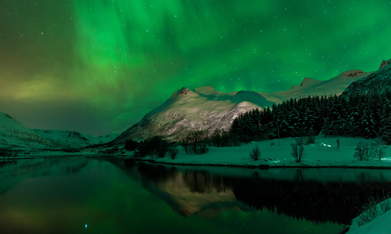 сияние озеро снег  № 2479071 бесплатно