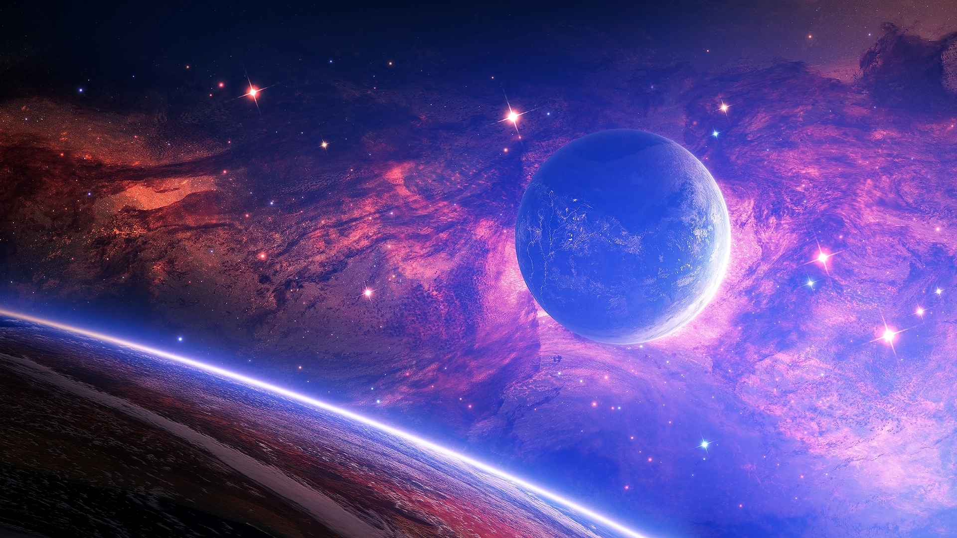 Обои Звездное небо над землей картинки на рабочий стол на тему Космос - скачать  № 1768331 бесплатно