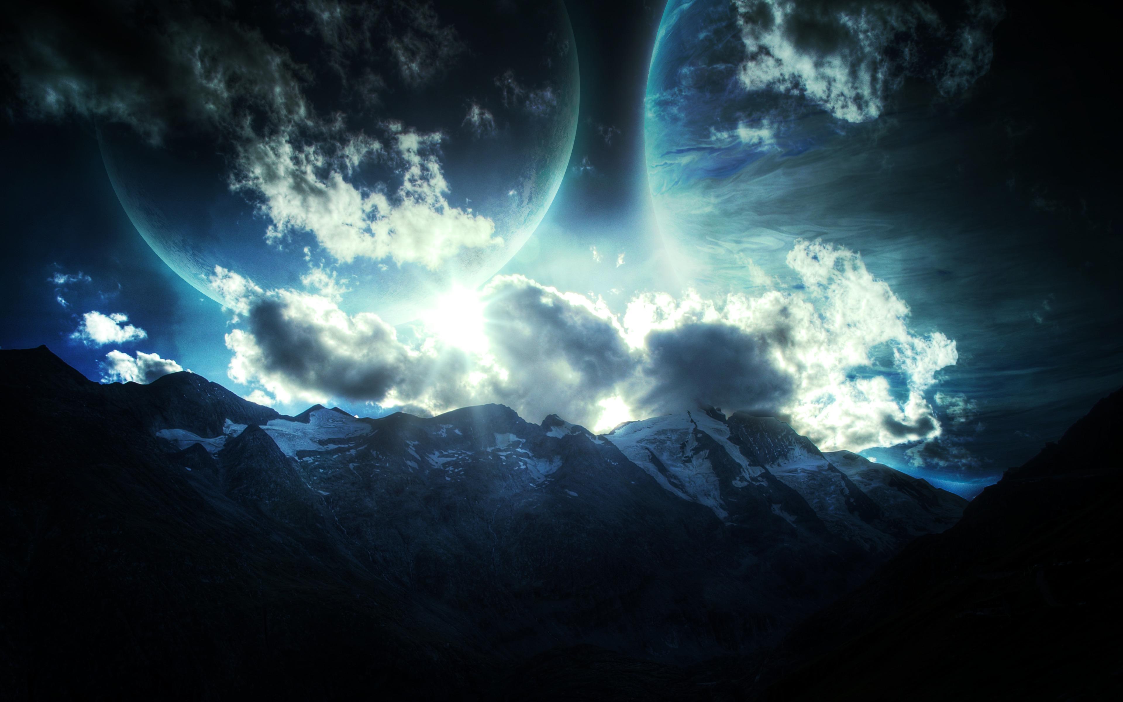 Планеты над горами  № 1164009 загрузить