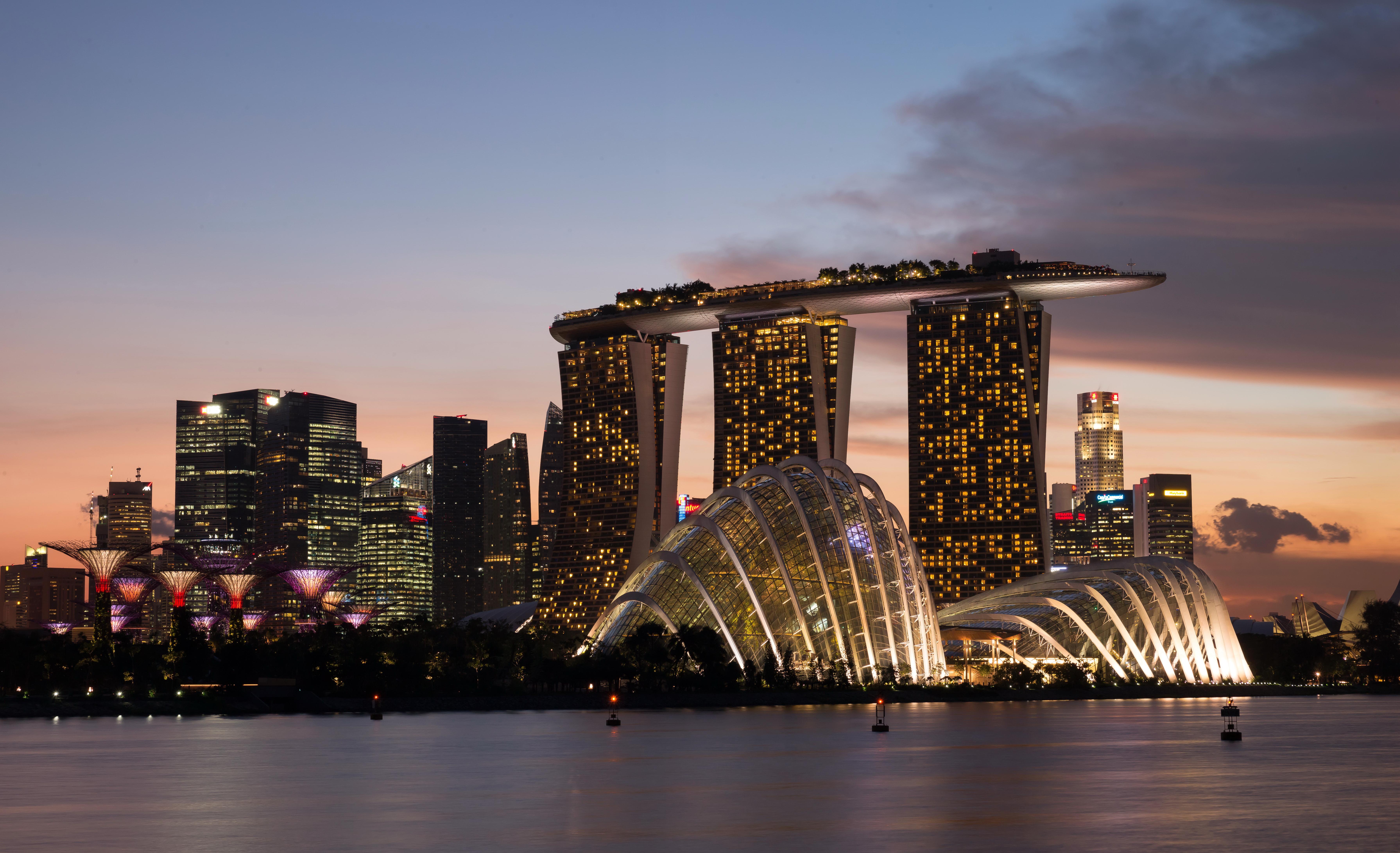 страны архитектура Сингапур ночь  № 1476010 загрузить