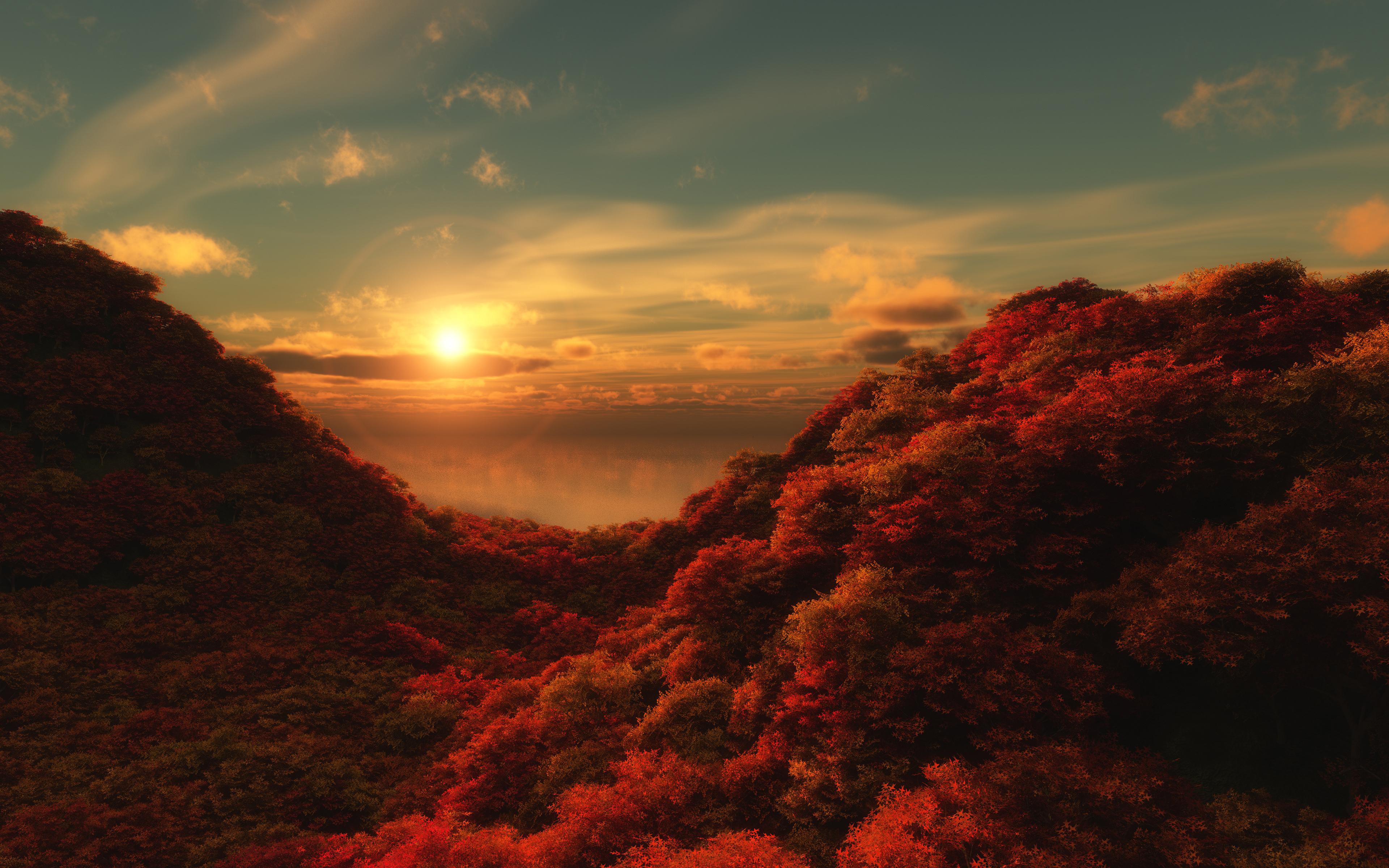 горы рассвет деревья вода  № 3850794  скачать