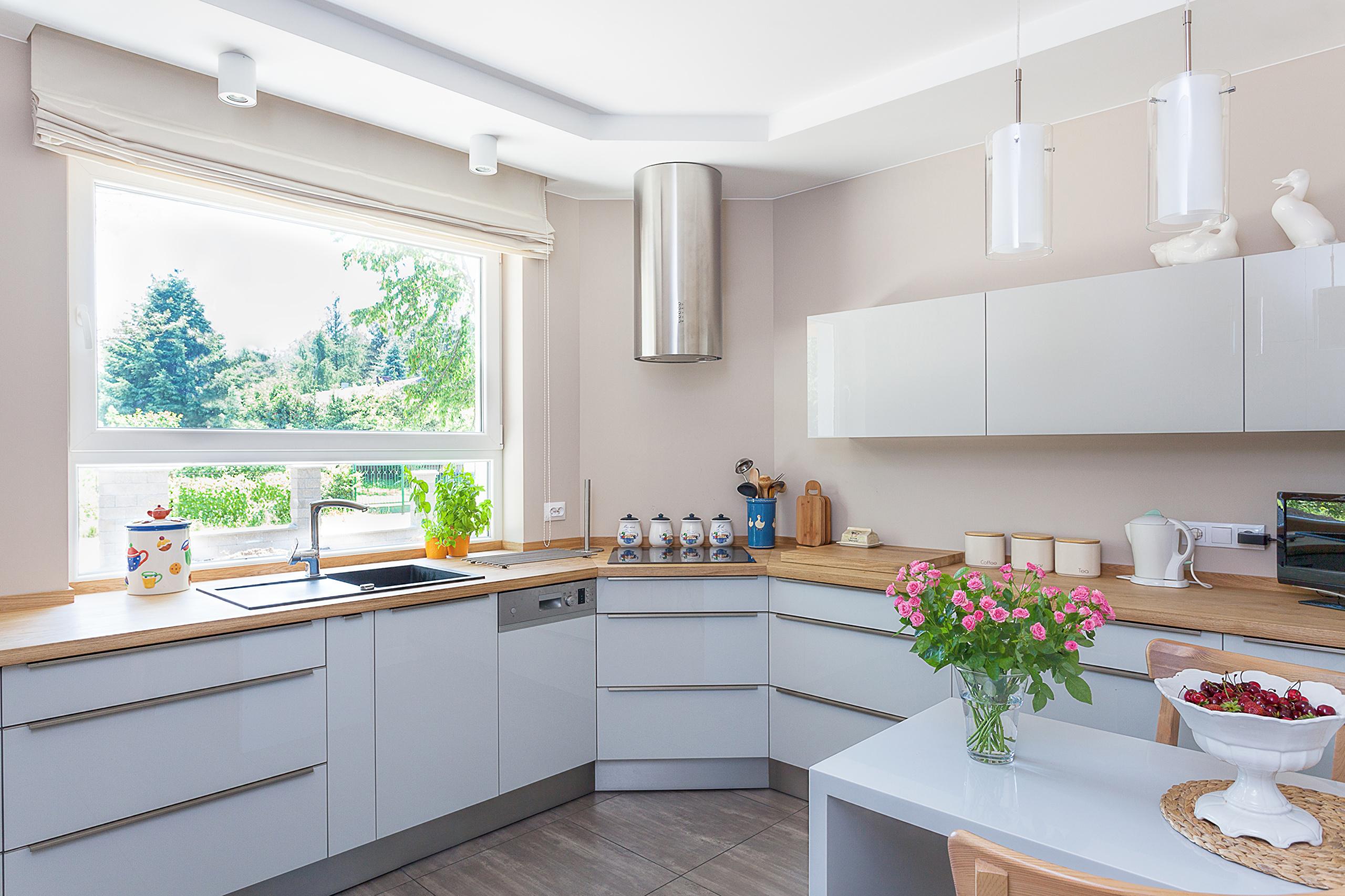 Современная кухня с окном дизайн фото