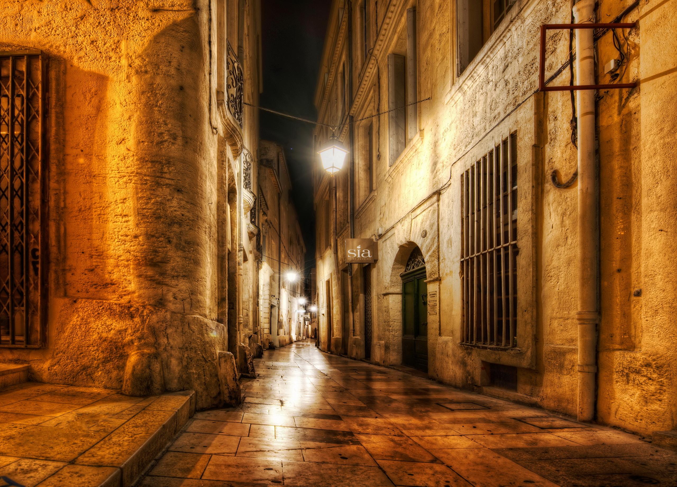 Франция дороги ночь фонари  № 2229341 загрузить