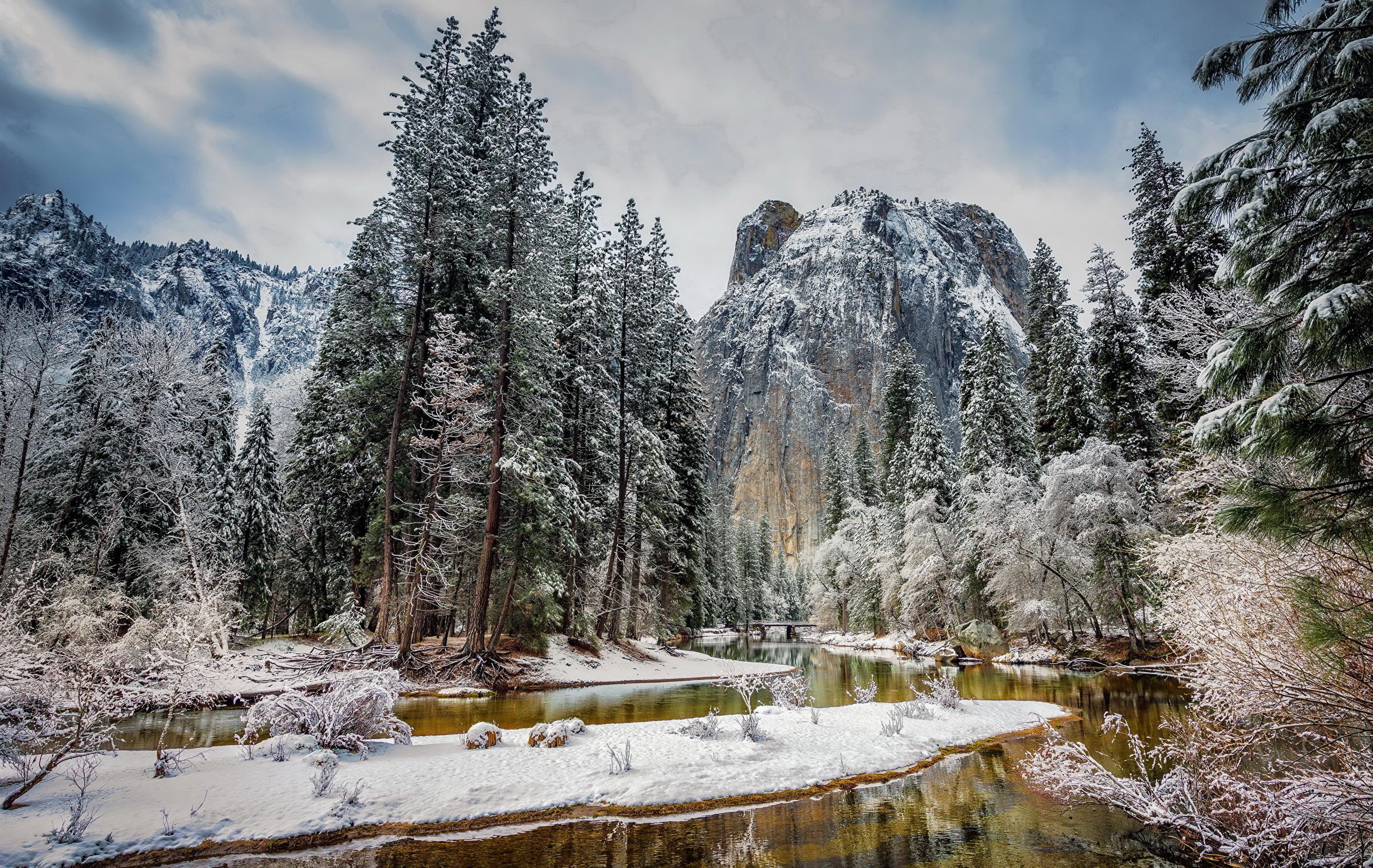 природа зима снег горы скалы деревья  № 2781201  скачать