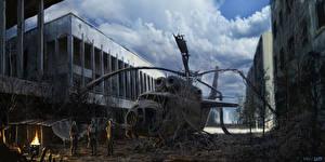 Обои STALKER Вертолеты Апокалипсис Облака Игры фото