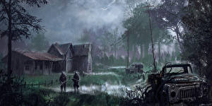 Обои STALKER Грузовики Дождь Игры фото