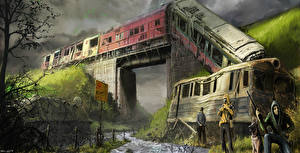Обои STALKER Поезда Катастрофы Мосты Игры фото