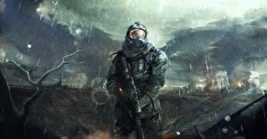 Обои STALKER Мужчины Дождь Апокалипсис Доспехи Шлем Игры фото
