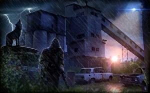 Обои STALKER Дождь Волки Молния Капюшон Игры фото