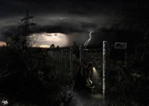 Обои STALKER Ночь Забор Игры фото