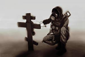 Обои STALKER S.T.A.L.K.E.R.: Clear Sky Противогаз Крест Игры фото