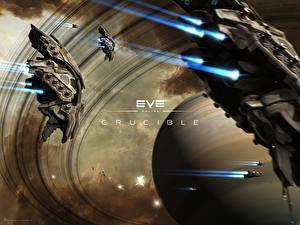 Обои EVE online Планеты Корабли Crucible Игры 3D_Графика Космос фото
