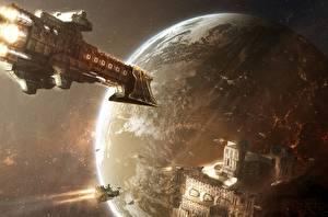 Обои Техника Фэнтези Планеты Корабли Warhammer 40000 Фэнтези Космос фото