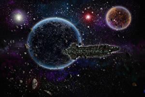 Обои Техника Фэнтези Планеты Астероиды Звезды Корабли Фэнтези Космос фото
