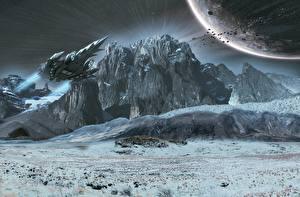 Обои Поверхность планеты Планеты Корабли Космос 3D_Графика фото