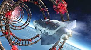 Обои Техника Фэнтези Корабли Полет Фэнтези 3D_Графика Космос фото