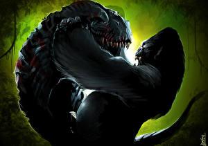 Обои Кинг Конг Обезьяны Динозавры Битвы Фильмы Животные