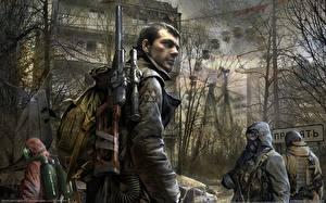 Обои Воители Мужчины STALKER S.T.A.L.K.E.R. Call of Pripya винтарь вс Игры фото