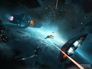 Обои Битвы Взрывы Техника Фэнтези Корабли Elite: Dangerous Игры Фэнтези Космос фото