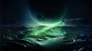 Обои Фантастический мир Техника Фэнтези Планеты Поверхность планеты Корабли Фэнтези Космос фото