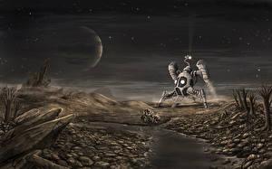 Обои Корабли Реки Планеты Камни Фэнтези Космос фото