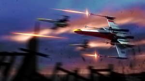 Обои Star Wars Корабли Выстрел X-Wing Фэнтези Космос фото