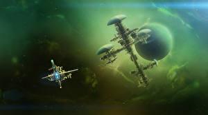Обои Планеты Корабли space station deep space Фэнтези Космос фото