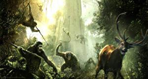 Обои Обезьяны Олени Dawn of the Planet of the Apes Фильмы фото