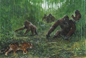 Обои Обезьяны Тигры Рисованные Животные фото