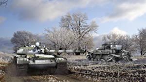 Обои World of Tanks Танки Снег Wargaming.Net BigWorld USSR Т-62А Игры фото