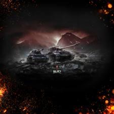 Обои World of Tanks Танки Blitz Wargaming.Net Germany Tiger II Игры фото