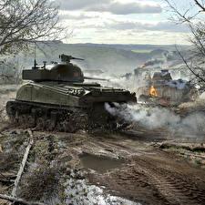 Обои World of Tanks Танки Wargaming Net WoT herman Firefly Panther Игры фото