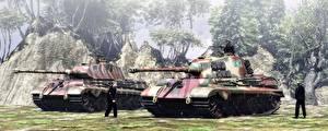 Обои Танки Двое King Tiger Армия 3D_Графика фото