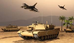 Обои Танки Самолеты Desert storm Армия 3D_Графика фото