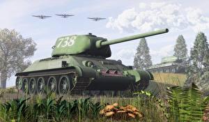Обои Танки Трава T-34-85 Армия 3D_Графика фото