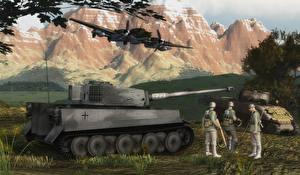 Обои Танки Солдаты Tiger, Sherman. Italy 1943 Армия 3D_Графика фото