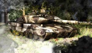 Обои Танки Рисованные Leopard 2 Армия 3D_Графика фото