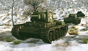 Обои Танки Зима KV-1E Армия 3D_Графика фото