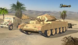 Обои Танки Песок Crusader Армия 3D_Графика фото