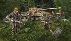 Обои Танки Солдаты Трава Шлем Panther Армия 3D_Графика фото