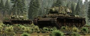 Обои Танки Рисованные KV-1 Армия 3D_Графика фото