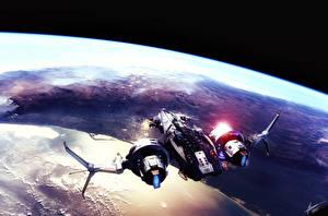 Обои Star Conflict Корабли Поверхность планеты Fan Art Star Conflict Игры Фэнтези Космос фото