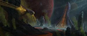 Обои Фантастический мир Корабли Фэнтези Космос фото
