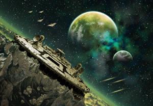 Обои Планеты Корабли construction Фэнтези Космос 3D_Графика фото