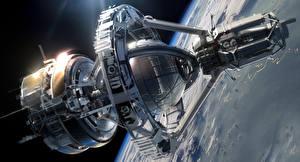 Обои Корабли Поверхность планеты Ender's Game Orson Scott Card sci-fi spaceship Фэнтези Космос фото