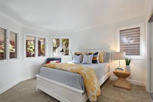 Обои Интерьер Дизайн Спальня Кровать Лампа Природа картинки